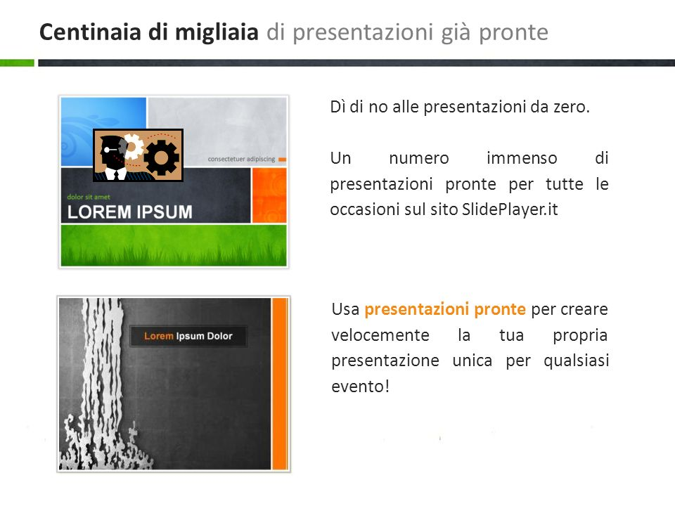 Usa presentazioni pronte per creare velocemente la tua propria presentazione unica per qualsiasi evento! Dì di no alle presentazioni da zero. Un numer