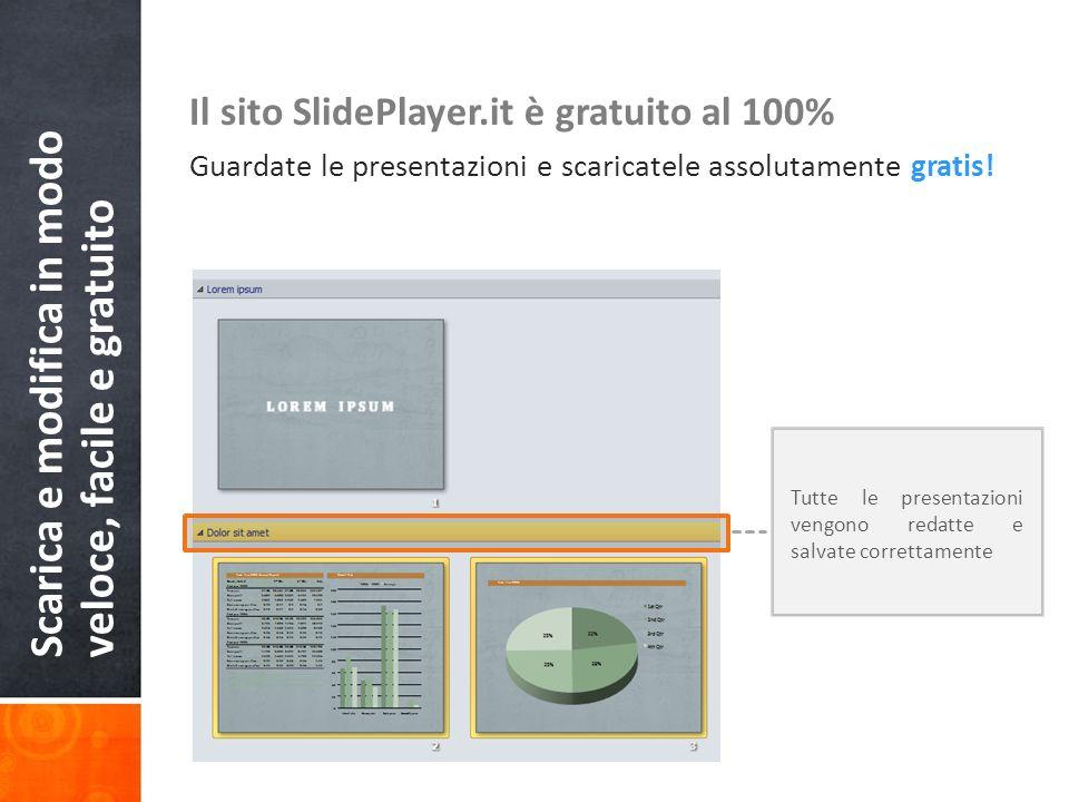 Scarica e modifica in modo veloce, facile e gratuito Il sito SlidePlayer.it è gratuito al 100% Guardate le presentazioni e scaricatele assolutamente g