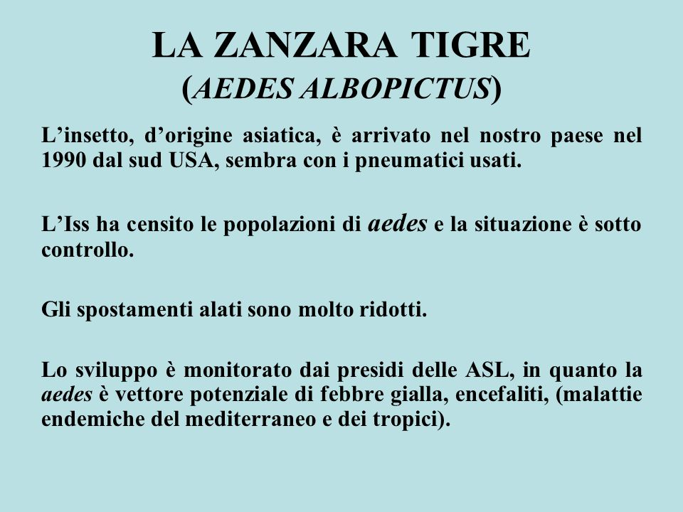 LA ZANZARA TIGRE ( AEDES ALBOPICTUS ) Linsetto, dorigine asiatica, è arrivato nel nostro paese nel 1990 dal sud USA, sembra con i pneumatici usati. LI