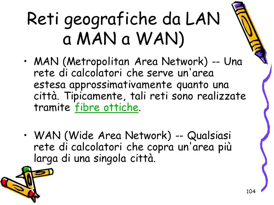 104 Reti geografiche da LAN a MAN a WAN) MAN (Metropolitan Area Network) -- Una rete di calcolatori che serve un'area estesa approssimativamente quant