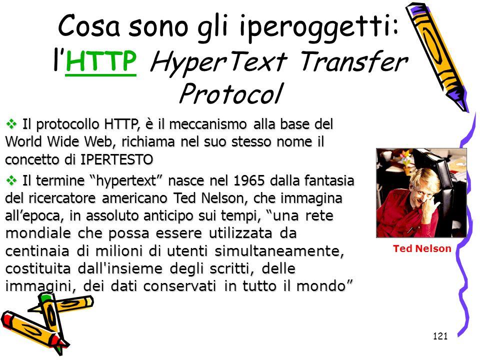 121 Il protocollo HTTP, è il meccanismo alla base del World Wide Web, richiama nel suo stesso nome il concetto di IPERTESTO Il protocollo HTTP, è il m
