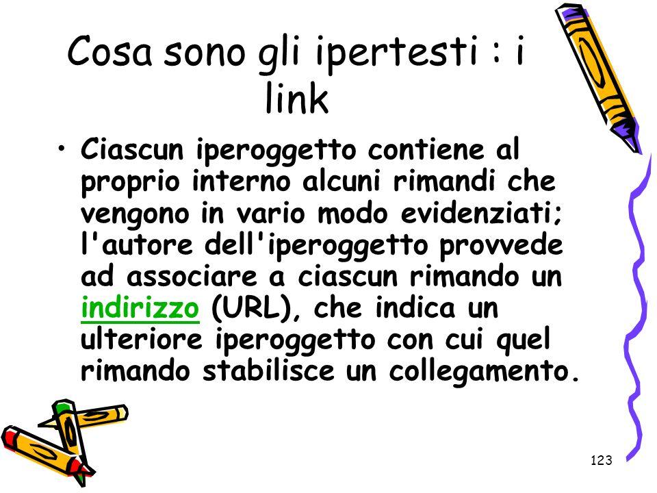 123 Cosa sono gli ipertesti : i link Ciascun iperoggetto contiene al proprio interno alcuni rimandi che vengono in vario modo evidenziati; l'autore de