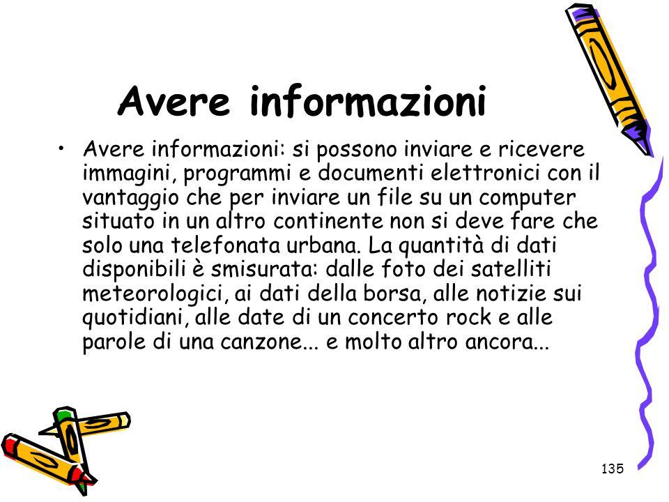 135 Avere informazioni Avere informazioni: si possono inviare e ricevere immagini, programmi e documenti elettronici con il vantaggio che per inviare