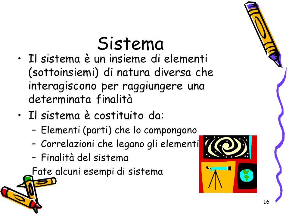 16 Sistema Il sistema è un insieme di elementi (sottoinsiemi) di natura diversa che interagiscono per raggiungere una determinata finalità Il sistema