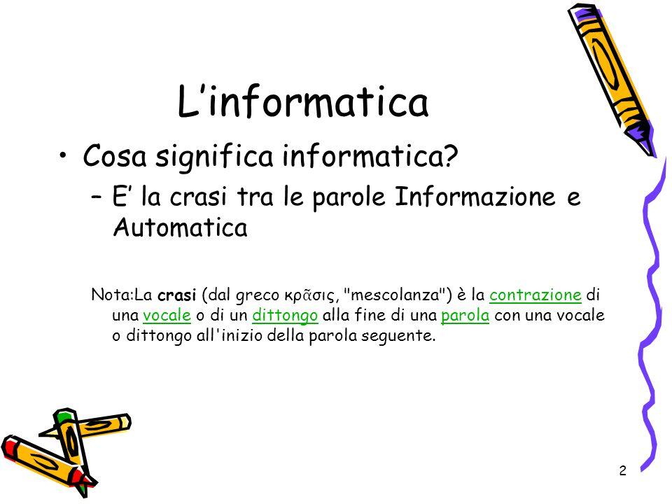 2 Linformatica Cosa significa informatica? –E la crasi tra le parole Informazione e Automatica Nota:La crasi (dal greco κρ σις,