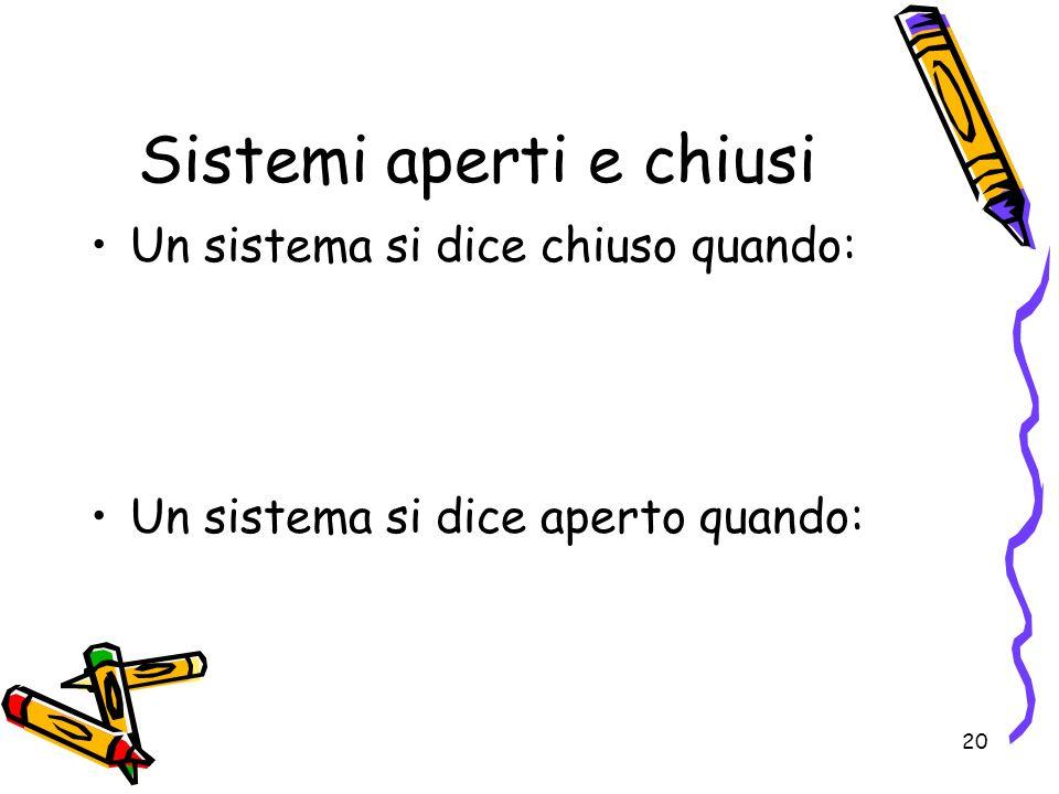 20 Sistemi aperti e chiusi Un sistema si dice chiuso quando: Un sistema si dice aperto quando: