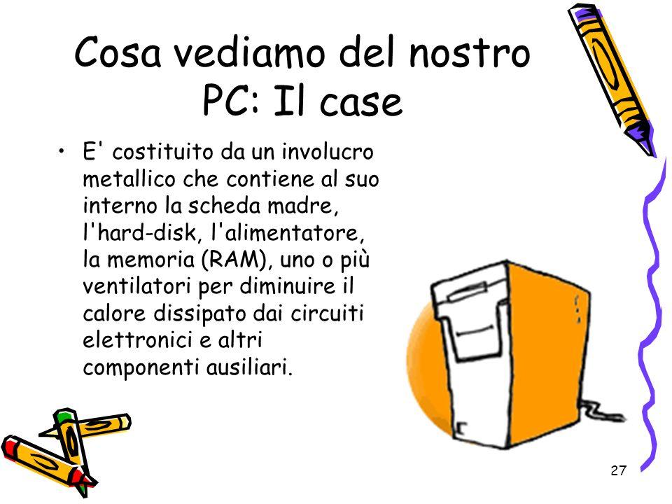 27 Cosa vediamo del nostro PC: Il case E' costituito da un involucro metallico che contiene al suo interno la scheda madre, l'hard-disk, l'alimentator