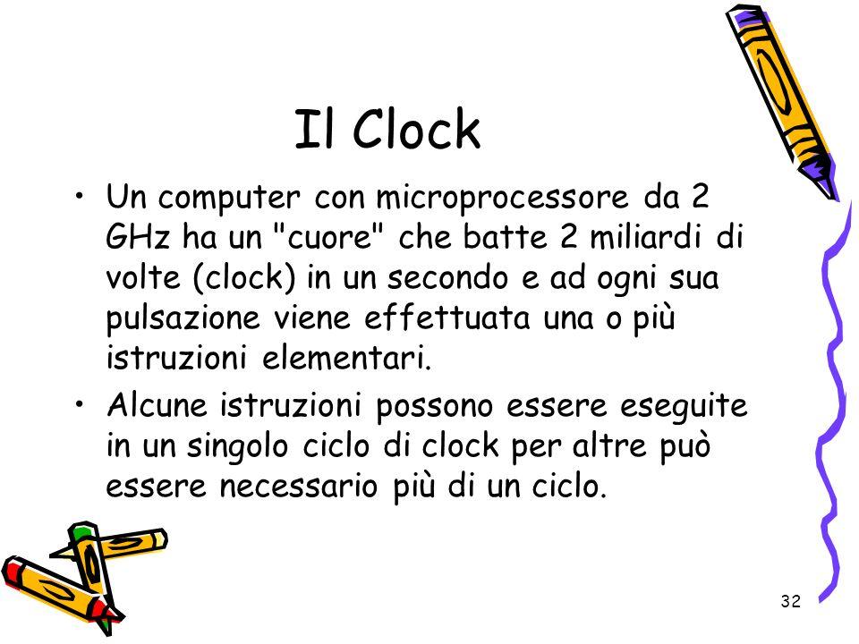 32 Il Clock Un computer con microprocessore da 2 GHz ha un