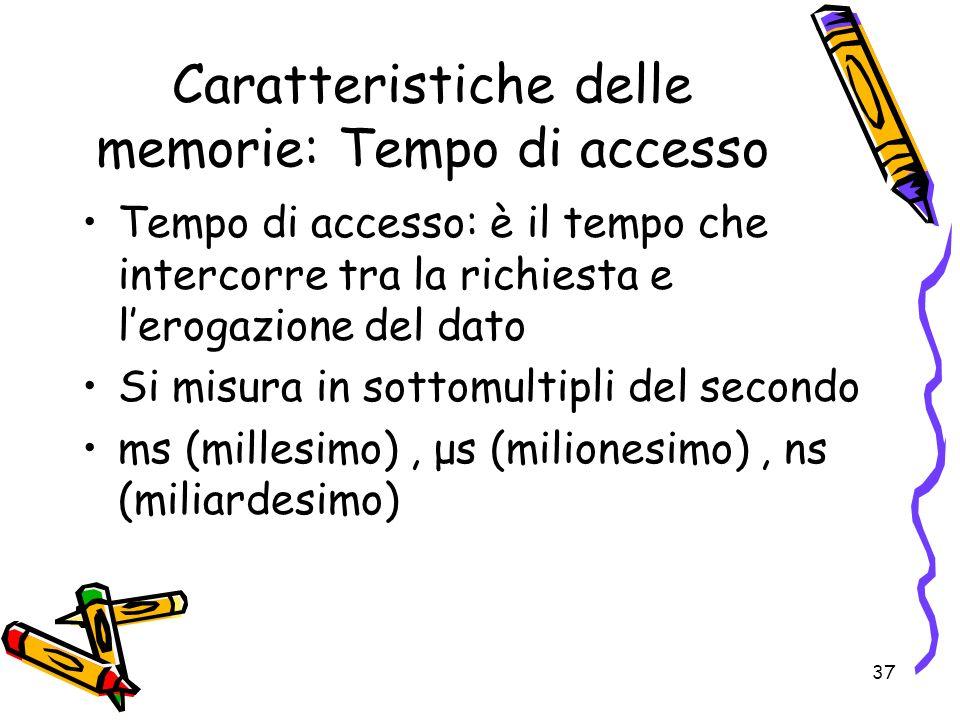 37 Caratteristiche delle memorie: Tempo di accesso Tempo di accesso: è il tempo che intercorre tra la richiesta e lerogazione del dato Si misura in so