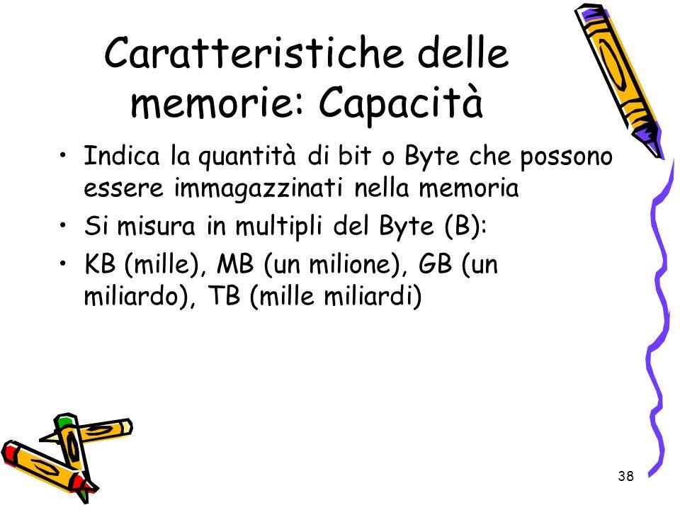 38 Caratteristiche delle memorie: Capacità Indica la quantità di bit o Byte che possono essere immagazzinati nella memoria Si misura in multipli del B