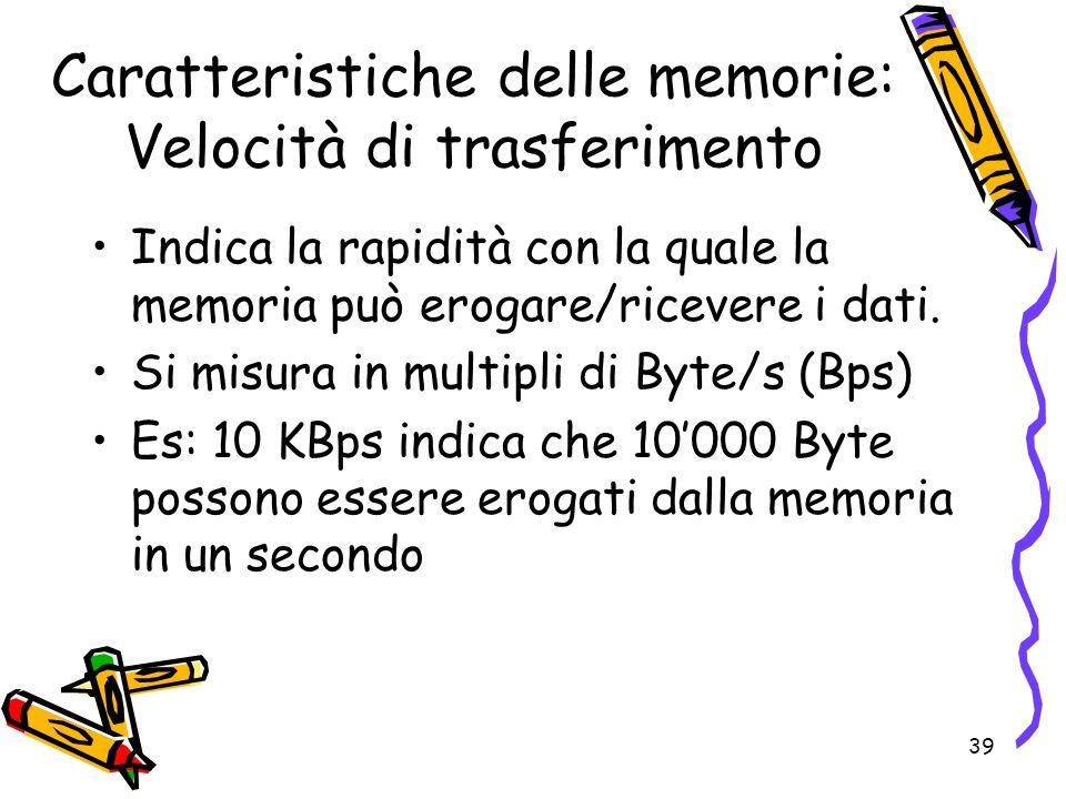 39 Caratteristiche delle memorie: Velocità di trasferimento Indica la rapidità con la quale la memoria può erogare/ricevere i dati. Si misura in multi