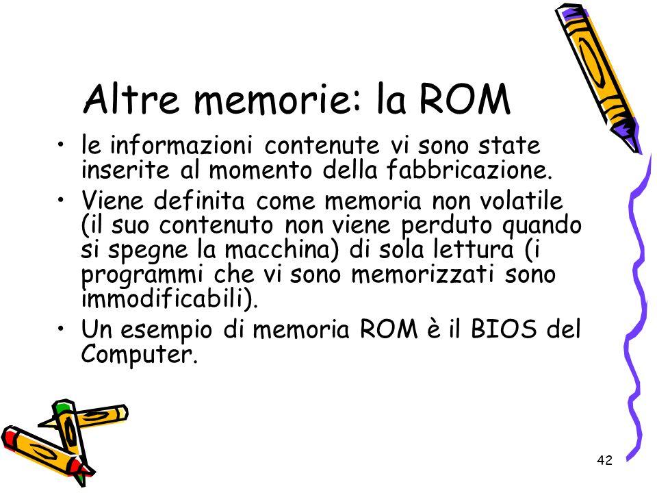 42 Altre memorie: la ROM le informazioni contenute vi sono state inserite al momento della fabbricazione. Viene definita come memoria non volatile (il