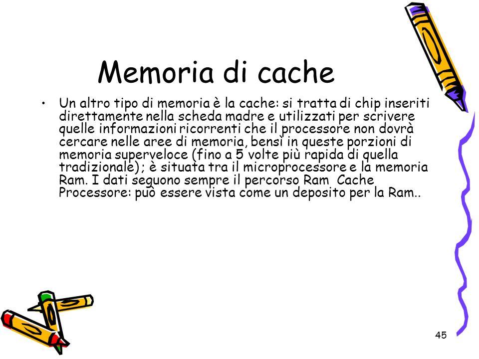 45 Memoria di cache Un altro tipo di memoria è la cache: si tratta di chip inseriti direttamente nella scheda madre e utilizzati per scrivere quelle i