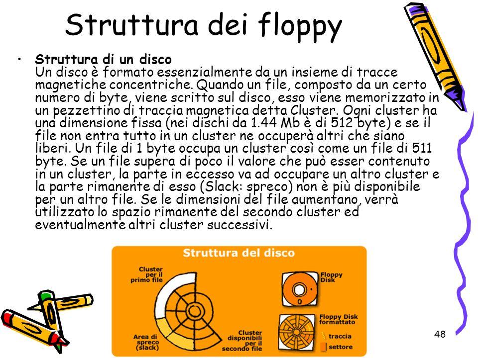 48 Struttura dei floppy Struttura di un disco Un disco è formato essenzialmente da un insieme di tracce magnetiche concentriche. Quando un file, compo