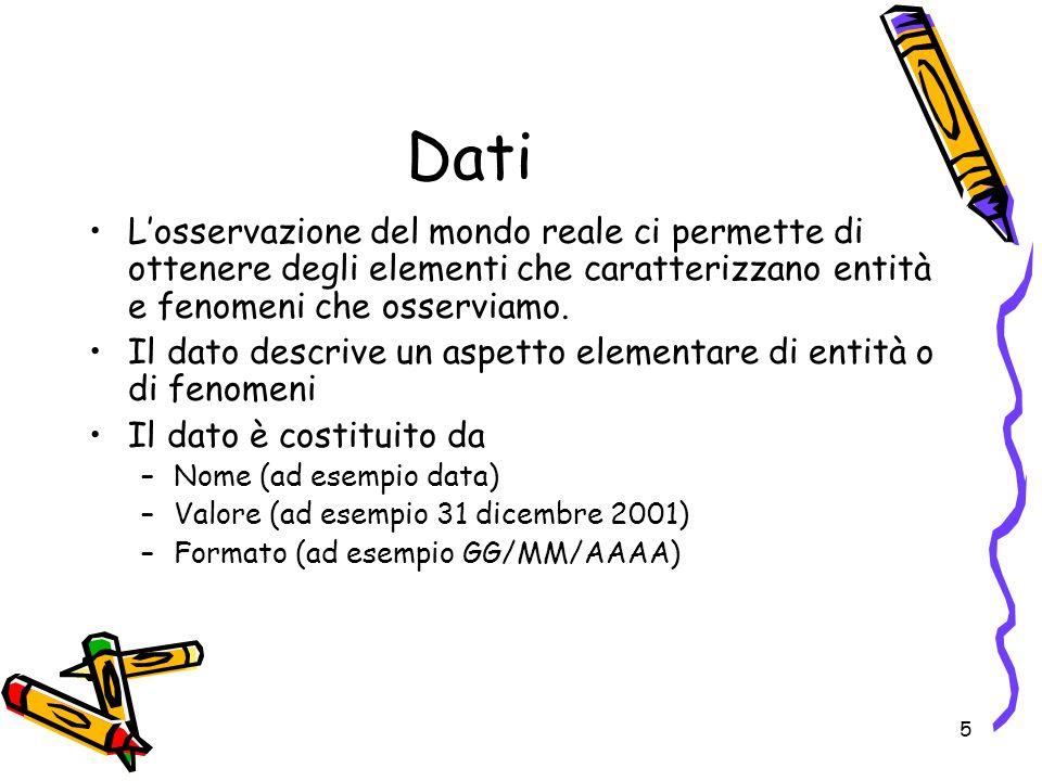 6 Dati e informazione elaboratiLinformazione è un insieme di dati elaborati e presentati sulla base di un esigenza particolare