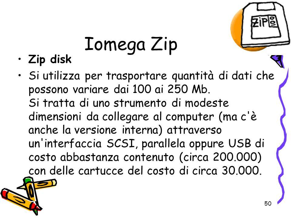 50 Iomega Zip Zip disk Si utilizza per trasportare quantità di dati che possono variare dai 100 ai 250 Mb. Si tratta di uno strumento di modeste dimen