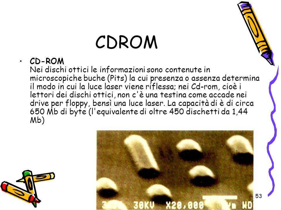 53 CDROM CD-ROM Nei dischi ottici le informazioni sono contenute in microscopiche buche (Pits) la cui presenza o assenza determina il modo in cui la l
