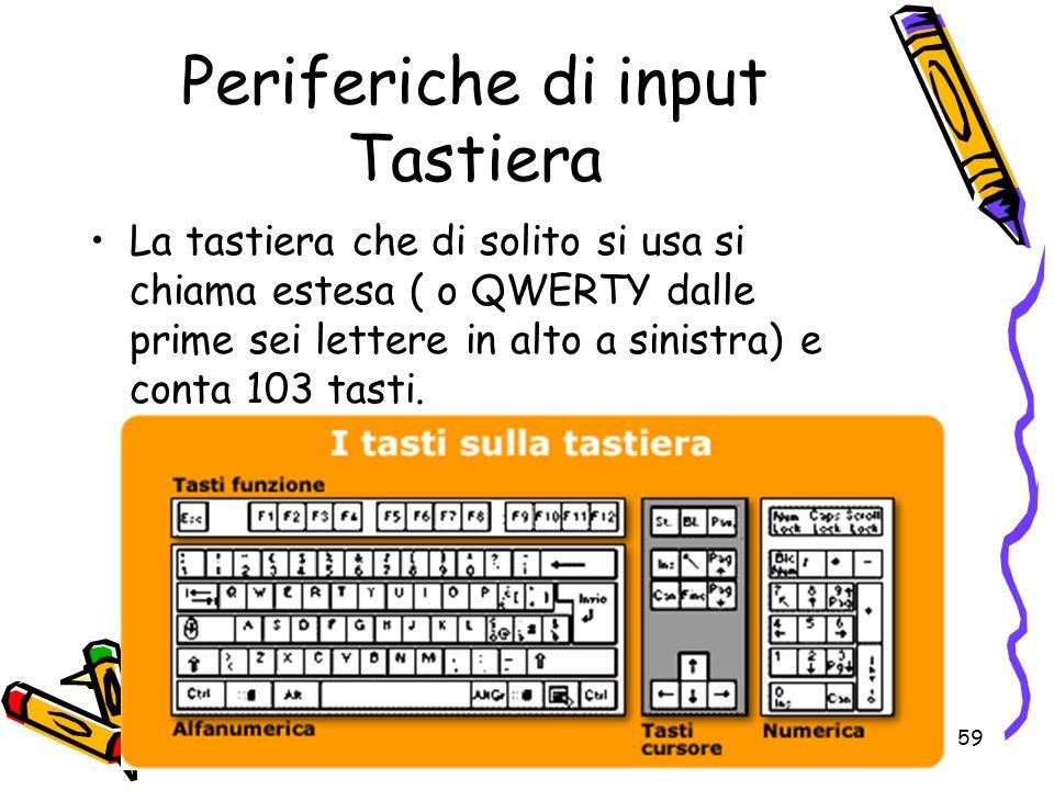 59 Periferiche di input Tastiera La tastiera che di solito si usa si chiama estesa ( o QWERTY dalle prime sei lettere in alto a sinistra) e conta 103