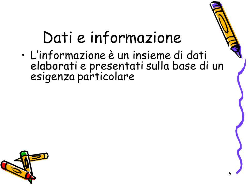 7 Elaborazione Il trattamento dei dati per ottenere linformazione viene indicato come elaborazione Dati Informazione