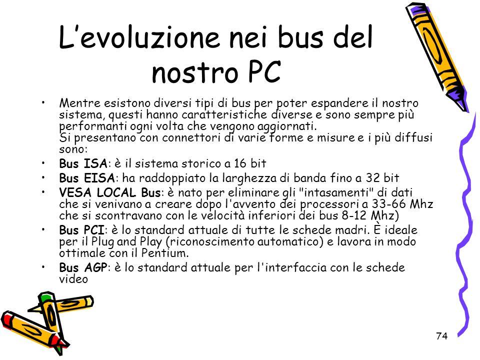 74 Levoluzione nei bus del nostro PC Mentre esistono diversi tipi di bus per poter espandere il nostro sistema, questi hanno caratteristiche diverse e