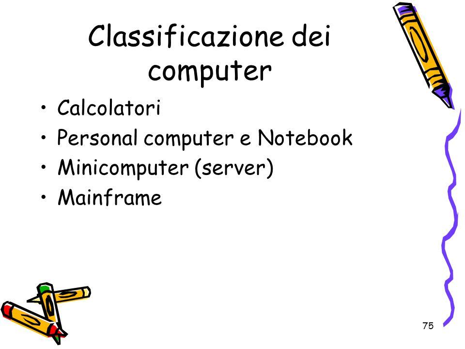 75 Classificazione dei computer Calcolatori Personal computer e Notebook Minicomputer (server) Mainframe
