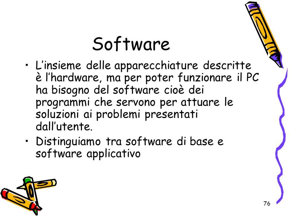 76 Software Linsieme delle apparecchiature descritte è lhardware, ma per poter funzionare il PC ha bisogno del software cioè dei programmi che servono