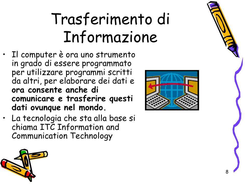 8 Trasferimento di Informazione Il computer è ora uno strumento in grado di essere programmato per utilizzare programmi scritti da altri, per elaborar