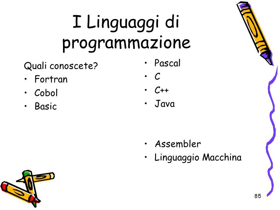 85 I Linguaggi di programmazione Quali conoscete? Fortran Cobol Basic Pascal C C++ Java Assembler Linguaggio Macchina