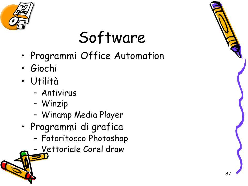 87 Software Programmi Office Automation Giochi Utilità –Antivirus –Winzip –Winamp Media Player Programmi di grafica –Fotoritocco Photoshop –Vettoriale