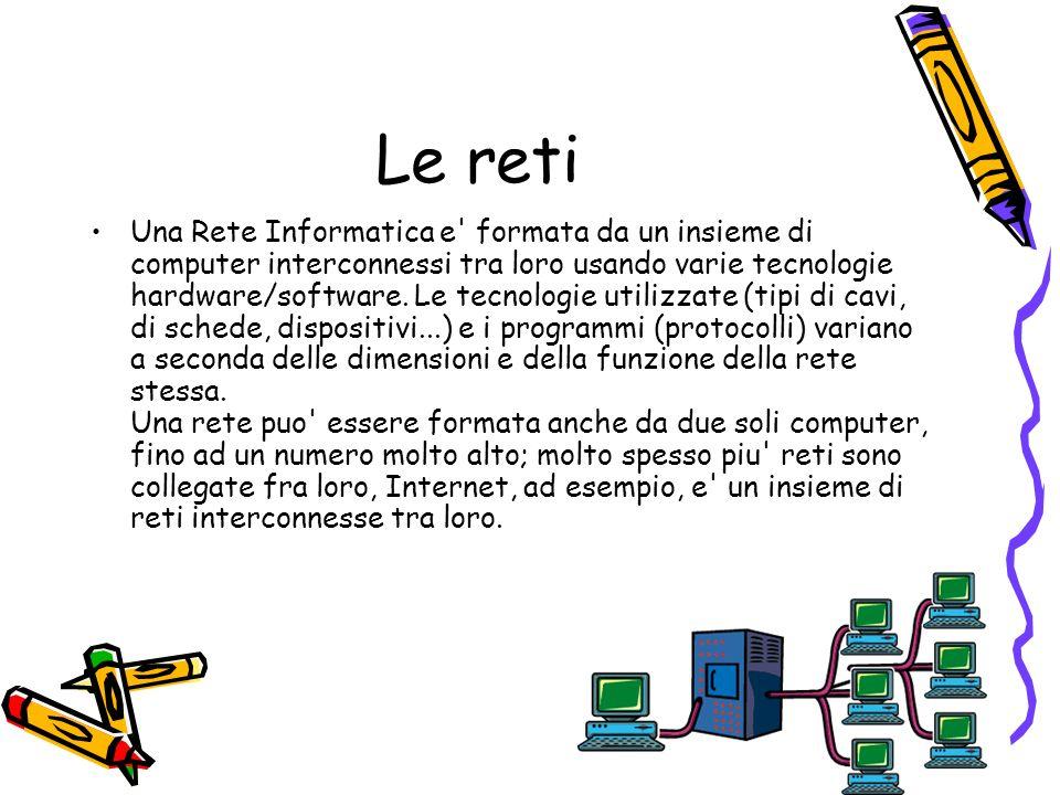 98 Le reti Una Rete Informatica e' formata da un insieme di computer interconnessi tra loro usando varie tecnologie hardware/software. Le tecnologie u