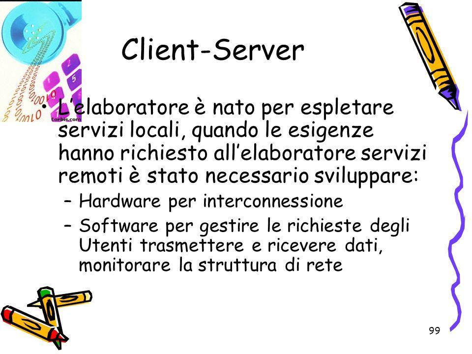 99 Client-Server Lelaboratore è nato per espletare servizi locali, quando le esigenze hanno richiesto allelaboratore servizi remoti è stato necessario