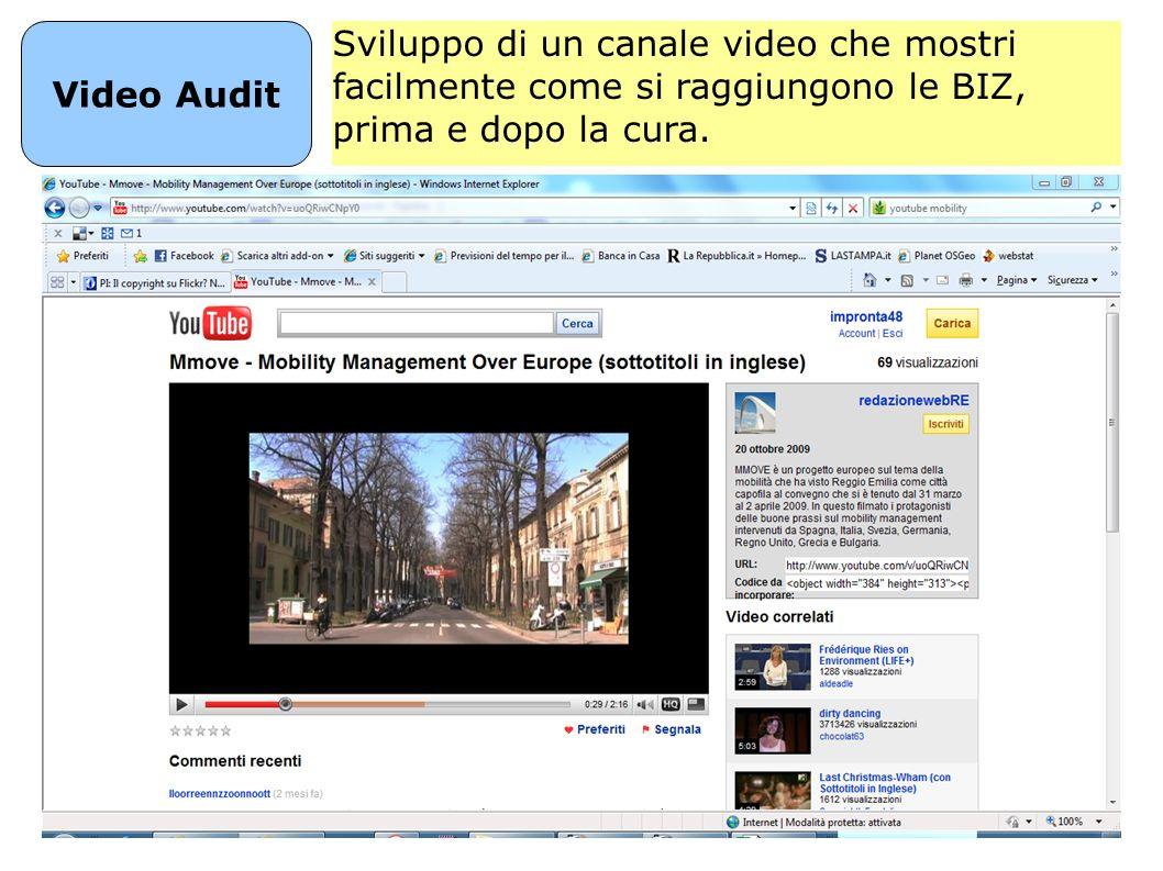 Video Audit Sviluppo di un canale video che mostri facilmente come si raggiungono le BIZ, prima e dopo la cura.