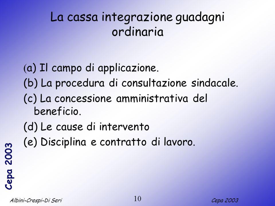 Albini-Crespi-Di SeriCepa 2003 10 La cassa integrazione guadagni ordinaria ( a) Il campo di applicazione. (b) La procedura di consultazione sindacale.