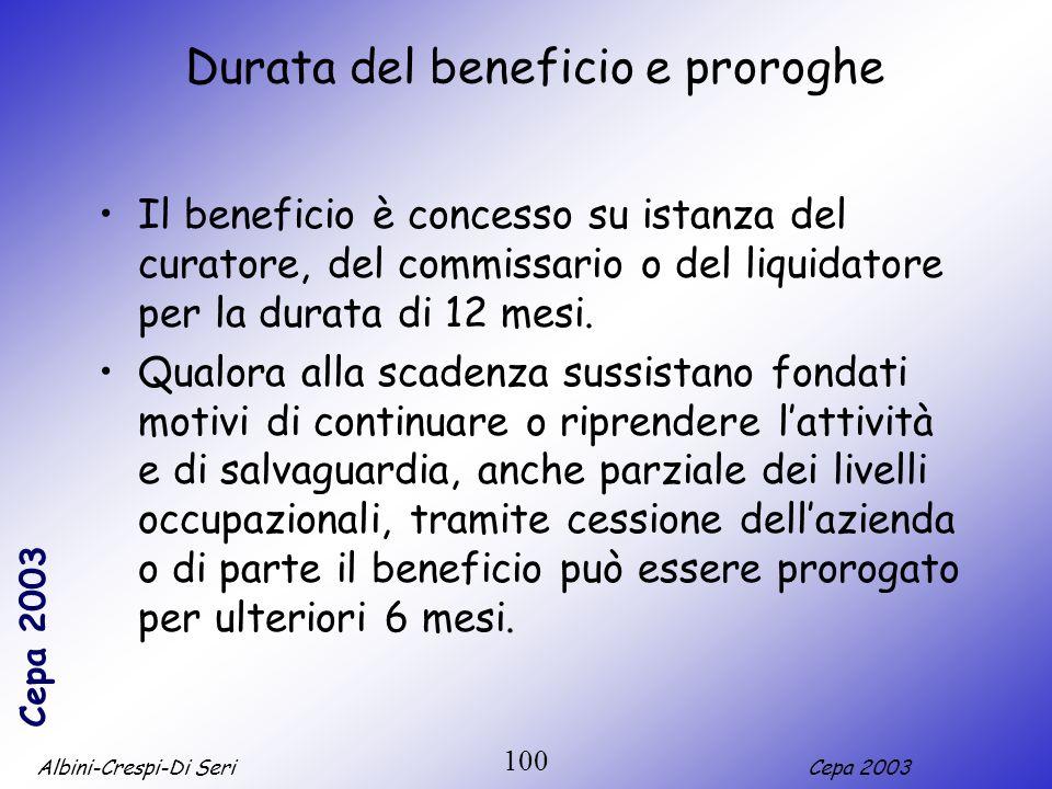 Albini-Crespi-Di SeriCepa 2003 100 Durata del beneficio e proroghe Il beneficio è concesso su istanza del curatore, del commissario o del liquidatore