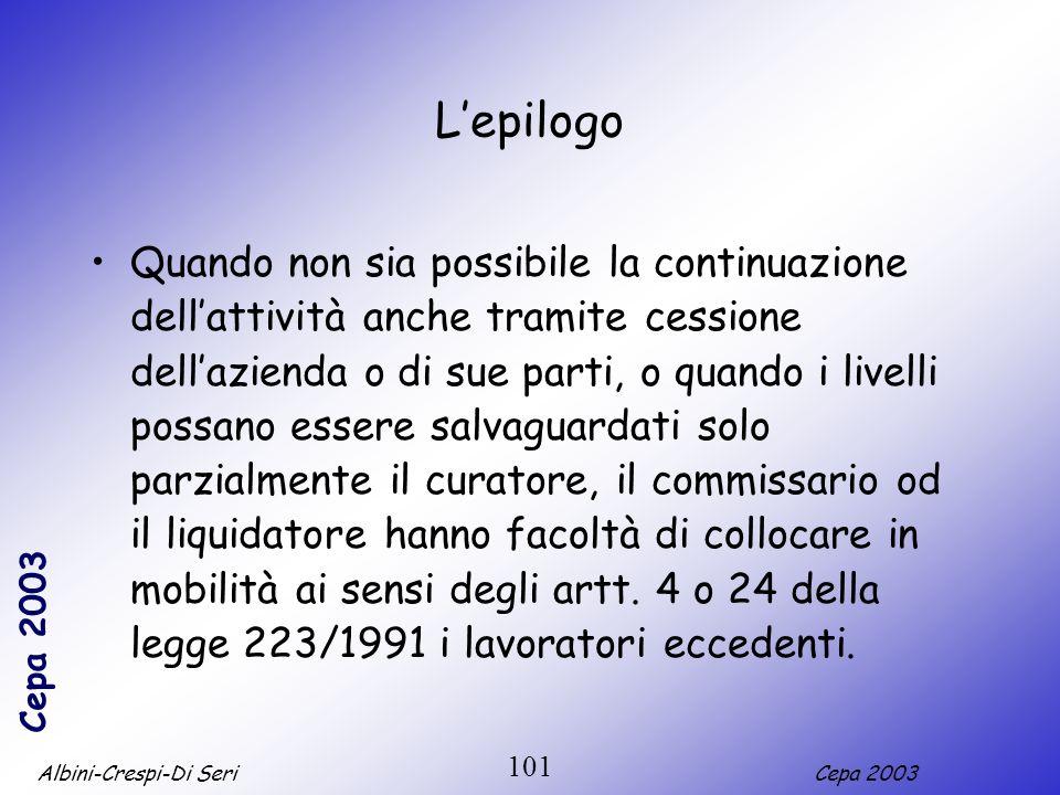 Albini-Crespi-Di SeriCepa 2003 101 Lepilogo Quando non sia possibile la continuazione dellattività anche tramite cessione dellazienda o di sue parti,