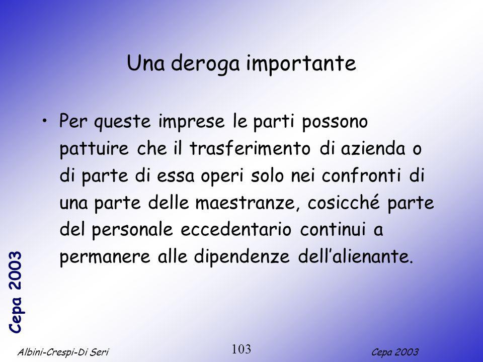 Albini-Crespi-Di SeriCepa 2003 103 Una deroga importante Per queste imprese le parti possono pattuire che il trasferimento di azienda o di parte di es