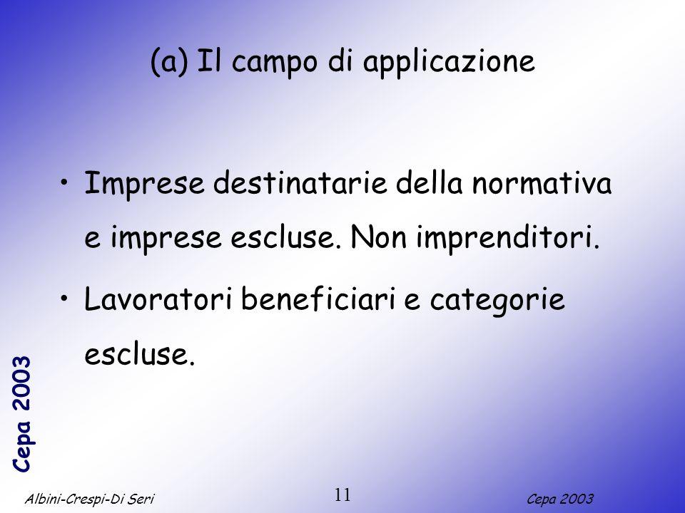 Albini-Crespi-Di SeriCepa 2003 11 (a) Il campo di applicazione Imprese destinatarie della normativa e imprese escluse. Non imprenditori. Lavoratori be
