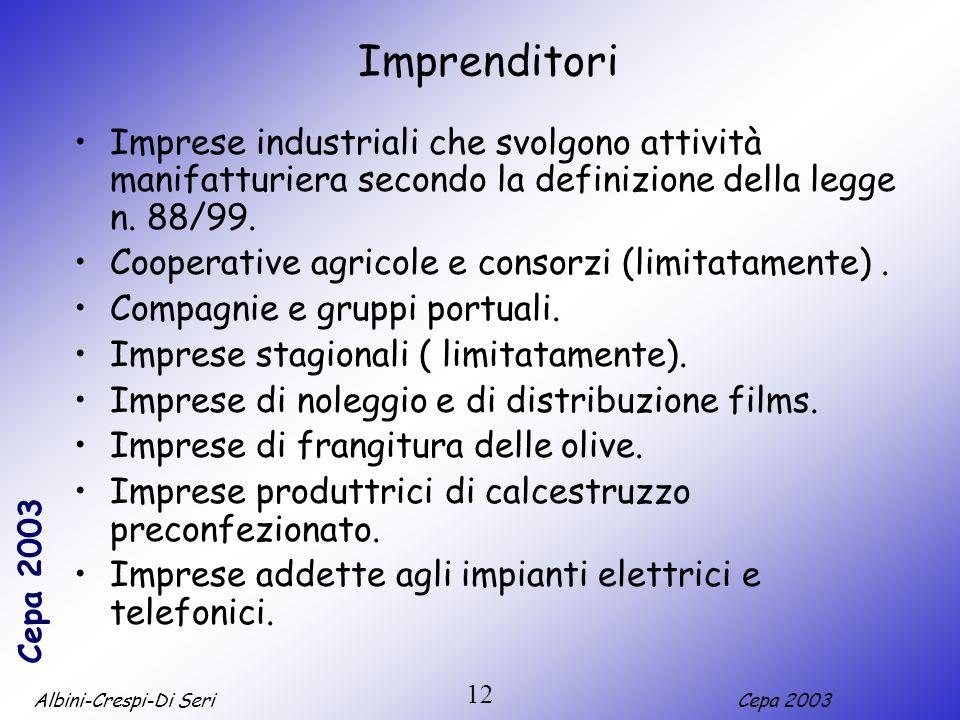 Albini-Crespi-Di SeriCepa 2003 12 Imprenditori Imprese industriali che svolgono attività manifatturiera secondo la definizione della legge n. 88/99. C