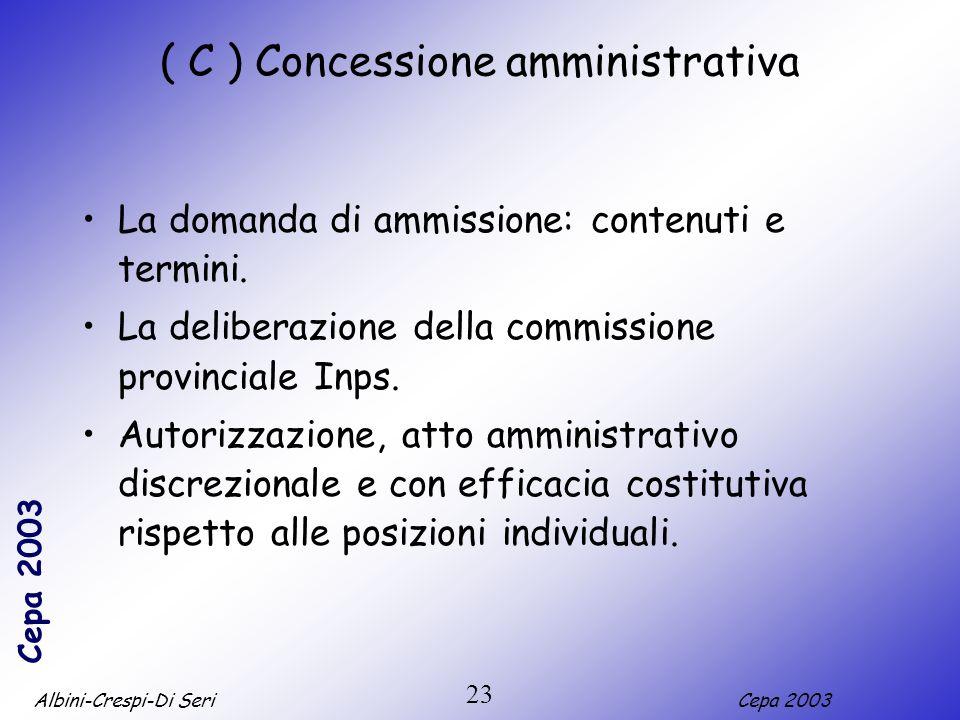 Albini-Crespi-Di SeriCepa 2003 23 ( C ) Concessione amministrativa La domanda di ammissione: contenuti e termini. La deliberazione della commissione p