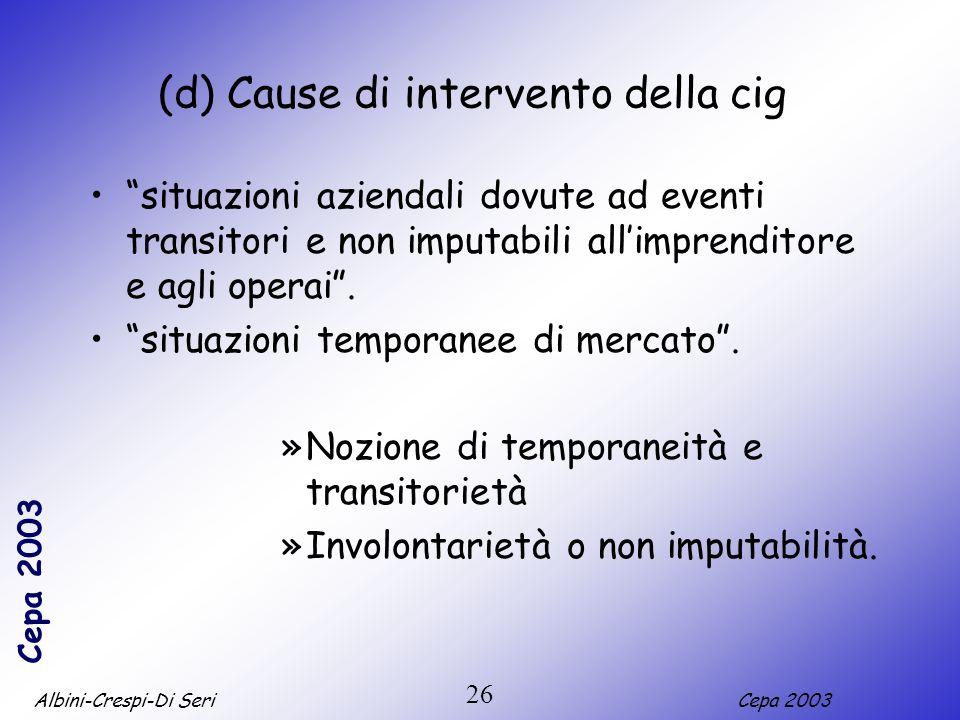 Albini-Crespi-Di SeriCepa 2003 26 (d) Cause di intervento della cig situazioni aziendali dovute ad eventi transitori e non imputabili allimprenditore