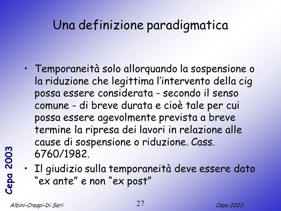 Albini-Crespi-Di SeriCepa 2003 27 Una definizione paradigmatica Temporaneità solo allorquando la sospensione o la riduzione che legittima lintervento