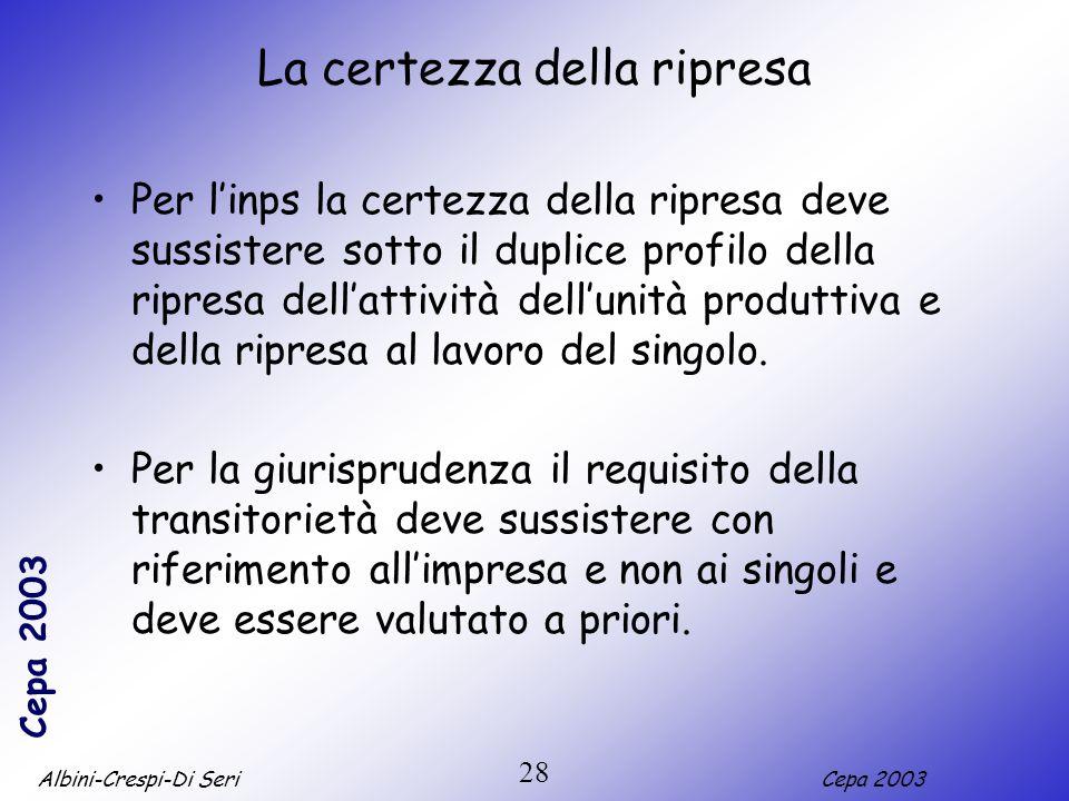 Albini-Crespi-Di SeriCepa 2003 28 La certezza della ripresa Per linps la certezza della ripresa deve sussistere sotto il duplice profilo della ripresa