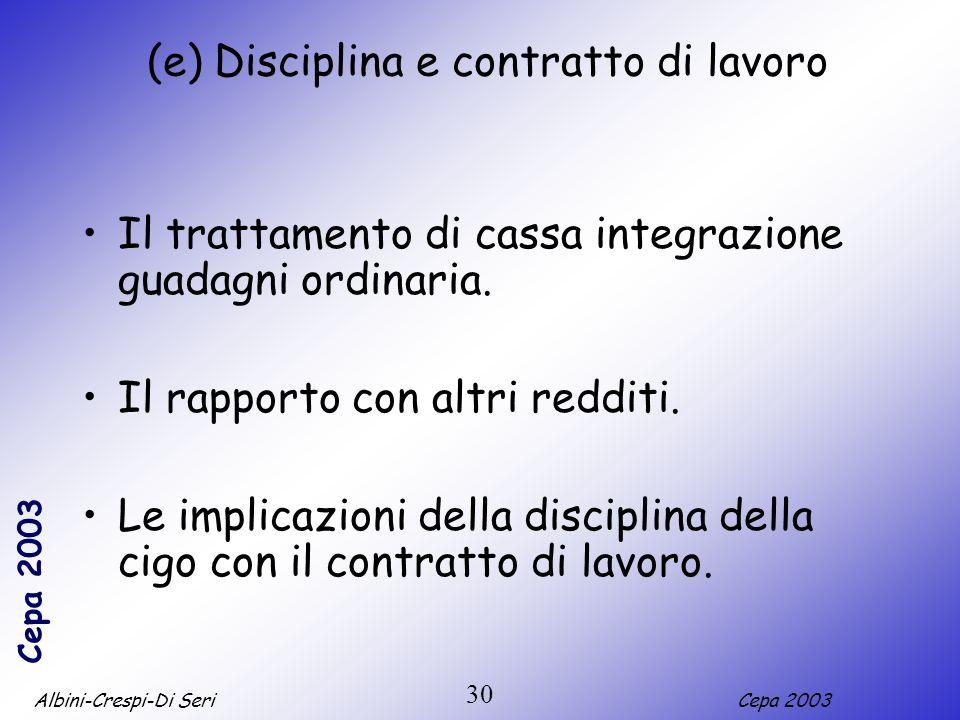 Albini-Crespi-Di SeriCepa 2003 30 (e) Disciplina e contratto di lavoro Il trattamento di cassa integrazione guadagni ordinaria. Il rapporto con altri