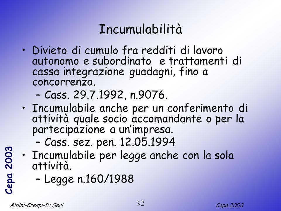 Albini-Crespi-Di SeriCepa 2003 32 Incumulabilità Divieto di cumulo fra redditi di lavoro autonomo e subordinato e trattamenti di cassa integrazione gu