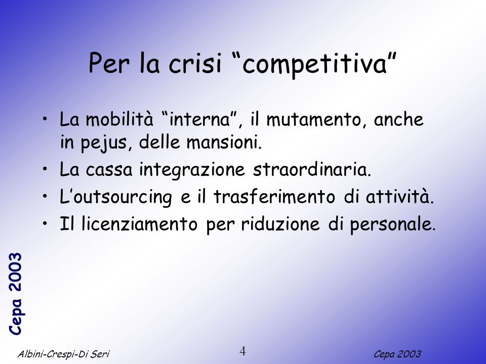 Albini-Crespi-Di SeriCepa 2003 4 Per la crisi competitiva La mobilità interna, il mutamento, anche in pejus, delle mansioni. La cassa integrazione str