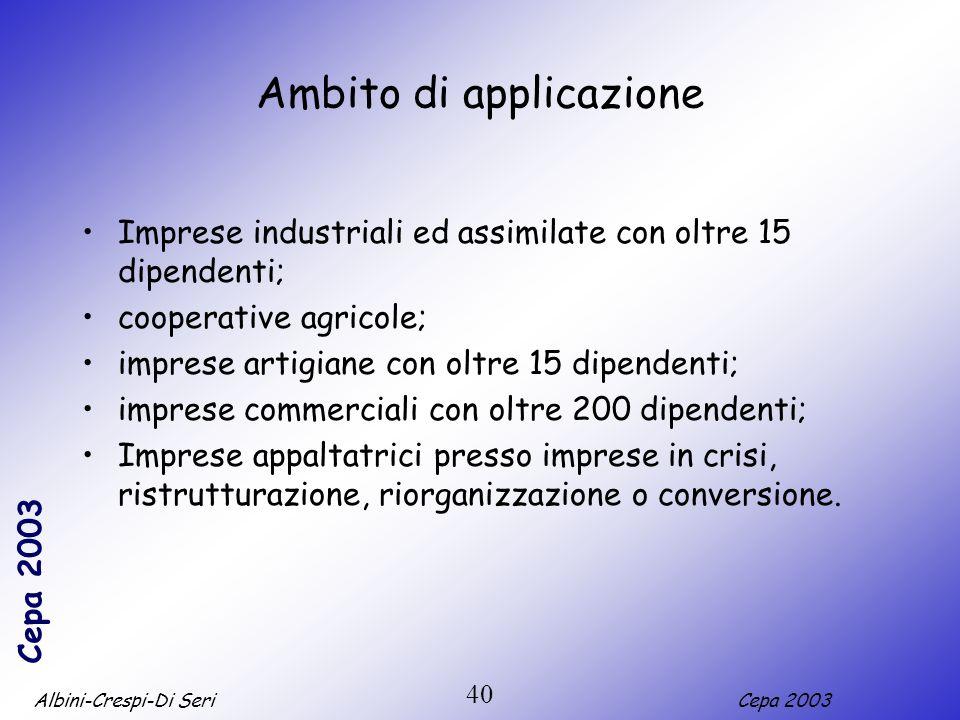 Albini-Crespi-Di SeriCepa 2003 40 Ambito di applicazione Imprese industriali ed assimilate con oltre 15 dipendenti; cooperative agricole; imprese arti