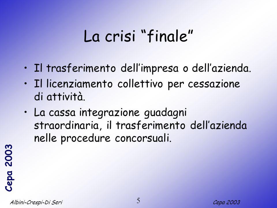 Albini-Crespi-Di SeriCepa 2003 5 La crisi finale Il trasferimento dellimpresa o dellazienda. Il licenziamento collettivo per cessazione di attività. L