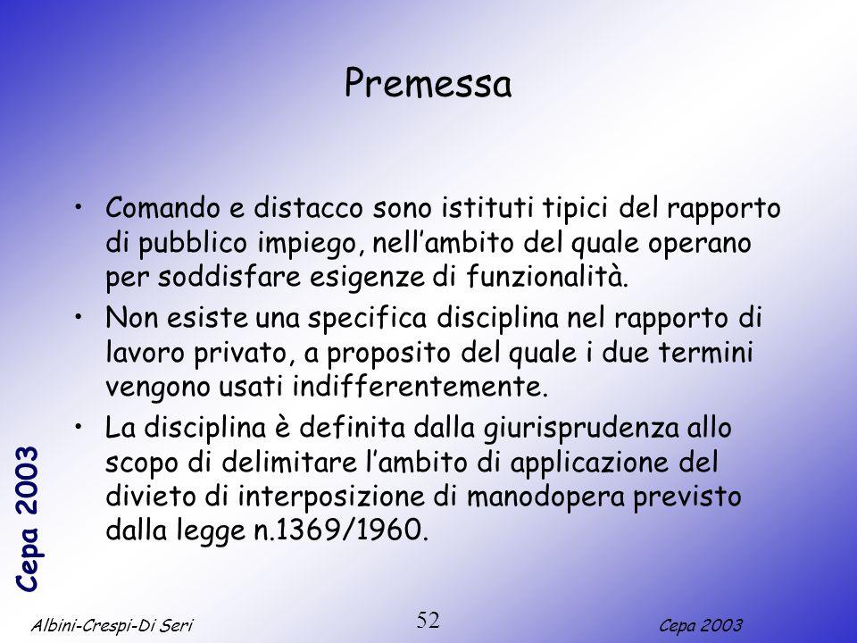 Albini-Crespi-Di SeriCepa 2003 52 Premessa Comando e distacco sono istituti tipici del rapporto di pubblico impiego, nellambito del quale operano per