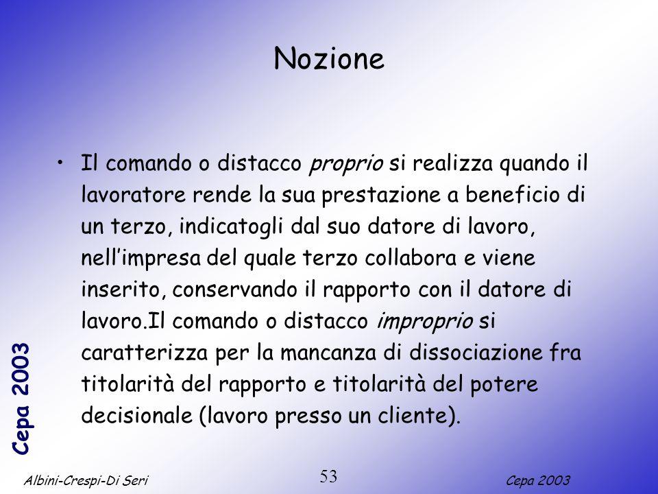 Albini-Crespi-Di SeriCepa 2003 53 Nozione Il comando o distacco proprio si realizza quando il lavoratore rende la sua prestazione a beneficio di un te