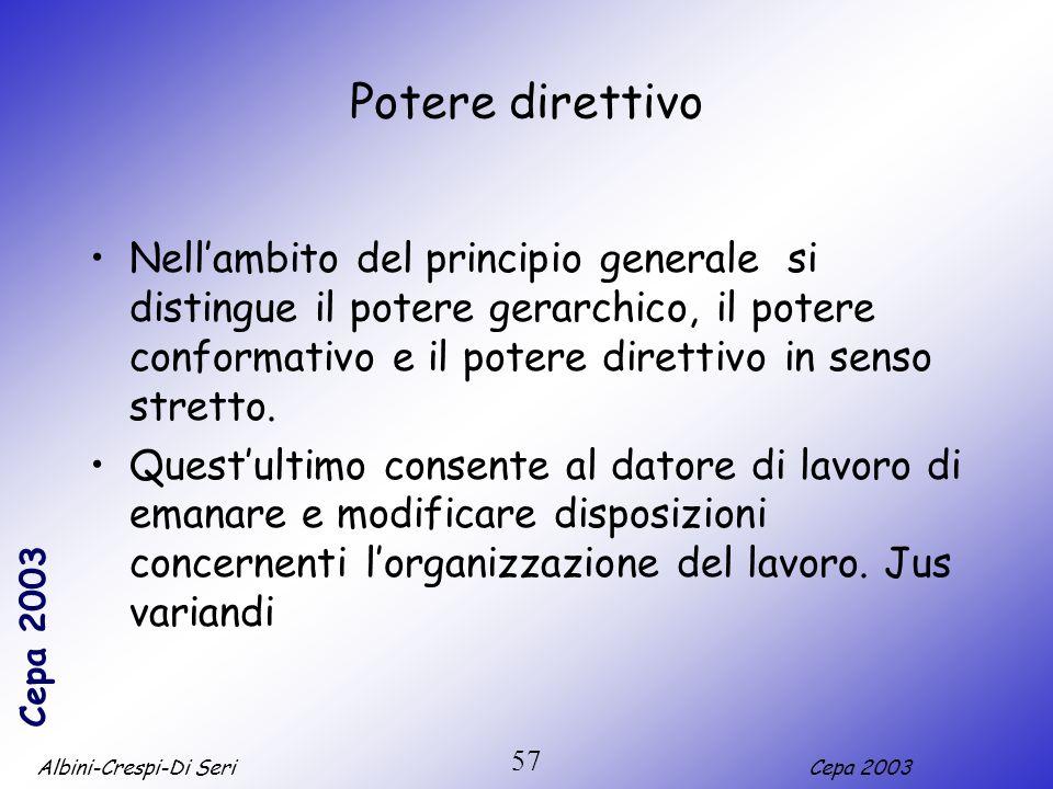 Albini-Crespi-Di SeriCepa 2003 57 Potere direttivo Nellambito del principio generale si distingue il potere gerarchico, il potere conformativo e il po
